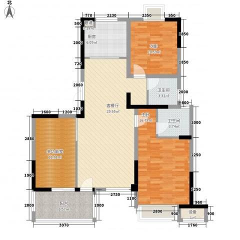 长江国际花园2室1厅2卫1厨90.09㎡户型图