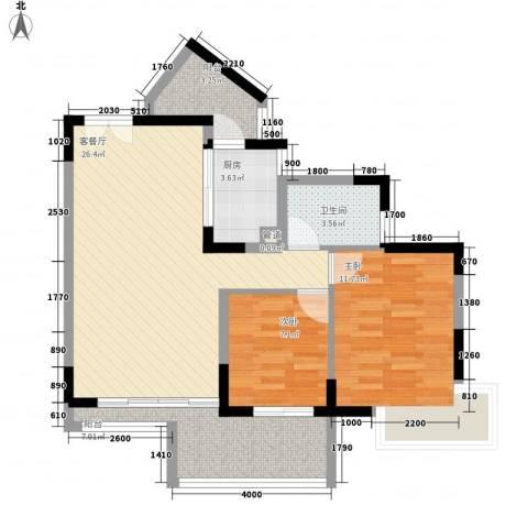 幸福枫景花园2室1厅1卫1厨77.00㎡户型图