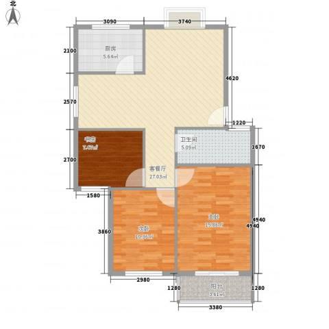 天成阳光花园3室1厅1卫1厨104.00㎡户型图