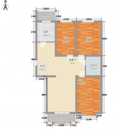 鸿雁家园3室1厅1卫1厨118.00㎡户型图