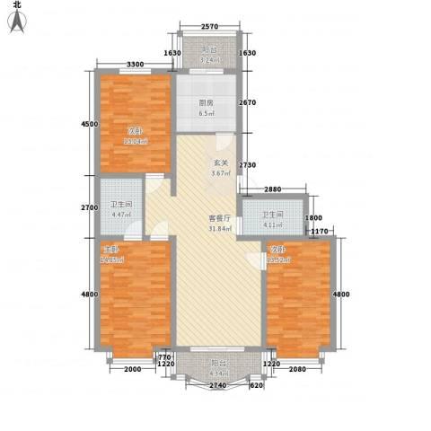 鸿雁家园3室1厅2卫1厨121.00㎡户型图