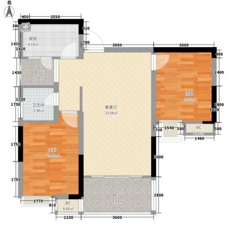 泽瑞琥珀天成2室1厅1卫1厨85.00㎡户型图