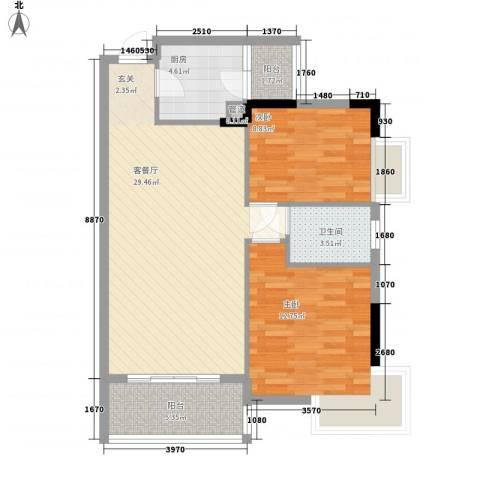 联邦花园2室1厅1卫1厨95.00㎡户型图
