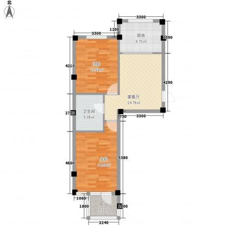 金润花园三期2室1厅1卫1厨68.00㎡户型图