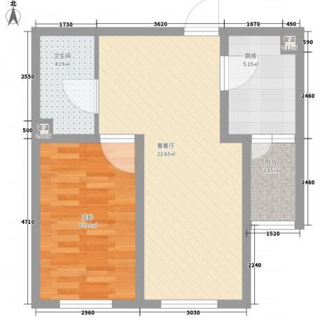 英伦名邸1室1厅1卫1厨47.17㎡户型图
