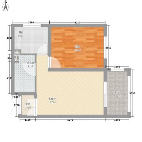 英伦名邸1室1厅1卫1厨45.89㎡户型图