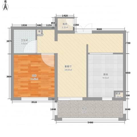 英伦名邸1室1厅1卫1厨51.83㎡户型图