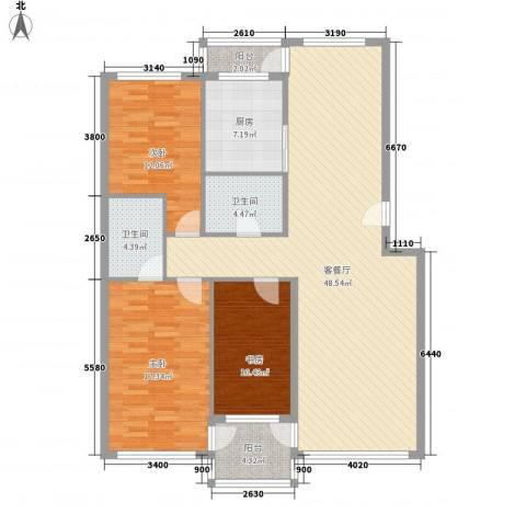 金润花园三期3室1厅2卫1厨151.00㎡户型图