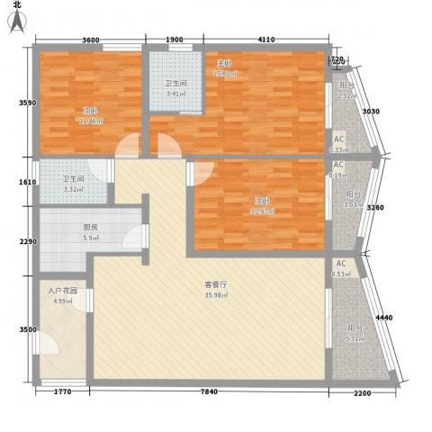 荣奇创业中心3室1厅2卫1厨150.00㎡户型图
