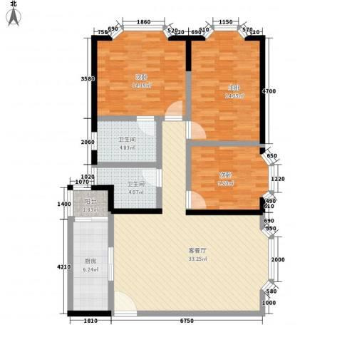 创业大厦3室1厅2卫1厨127.00㎡户型图