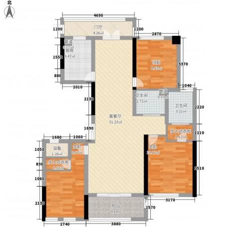 城泰湖韵天成3室1厅2卫1厨121.00㎡户型图