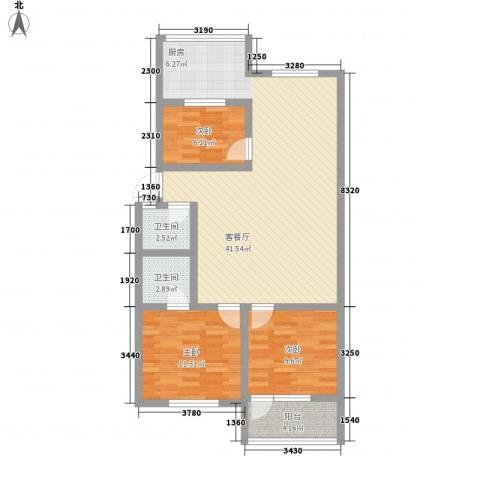 天成阳光花园3室1厅2卫0厨120.00㎡户型图