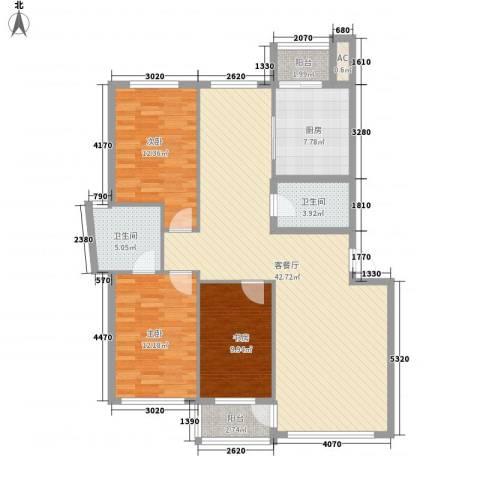 金润花园三期3室1厅2卫1厨141.00㎡户型图