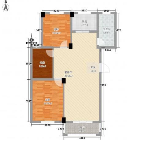 名仕紫金花园3室1厅1卫1厨122.00㎡户型图