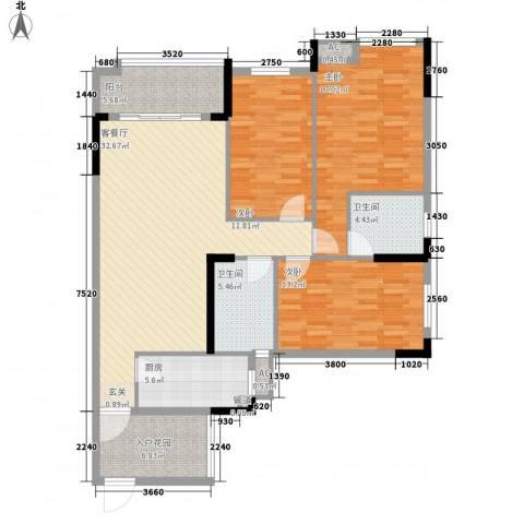 富川瑞园3室1厅2卫1厨146.00㎡户型图