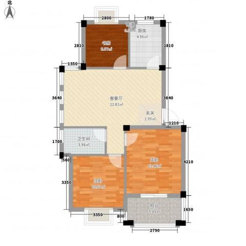 名仕紫金花园3室1厅1卫1厨95.00㎡户型图