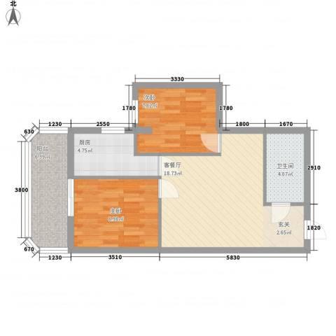 盛京金碧苑2室1厅1卫1厨72.00㎡户型图