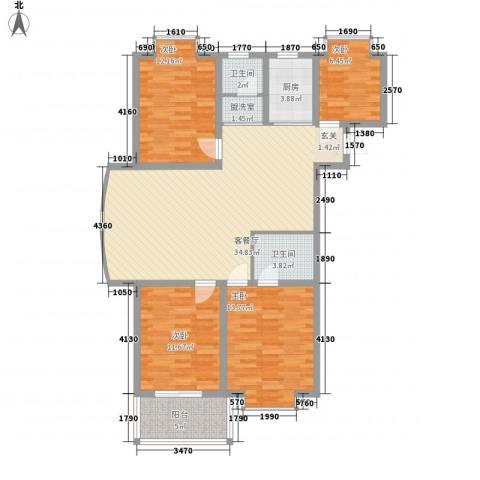 冠蒙・阳光新城4室1厅2卫1厨135.00㎡户型图