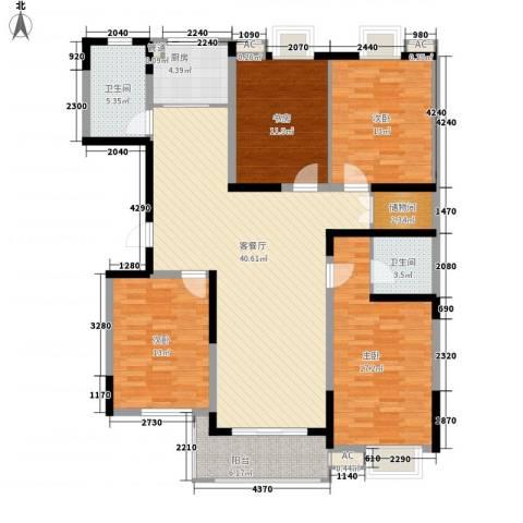 华夏春晓4室1厅2卫1厨166.00㎡户型图