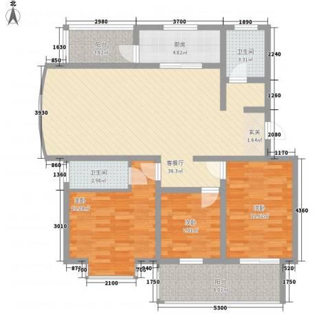 冠蒙・阳光新城3室1厅2卫1厨133.00㎡户型图