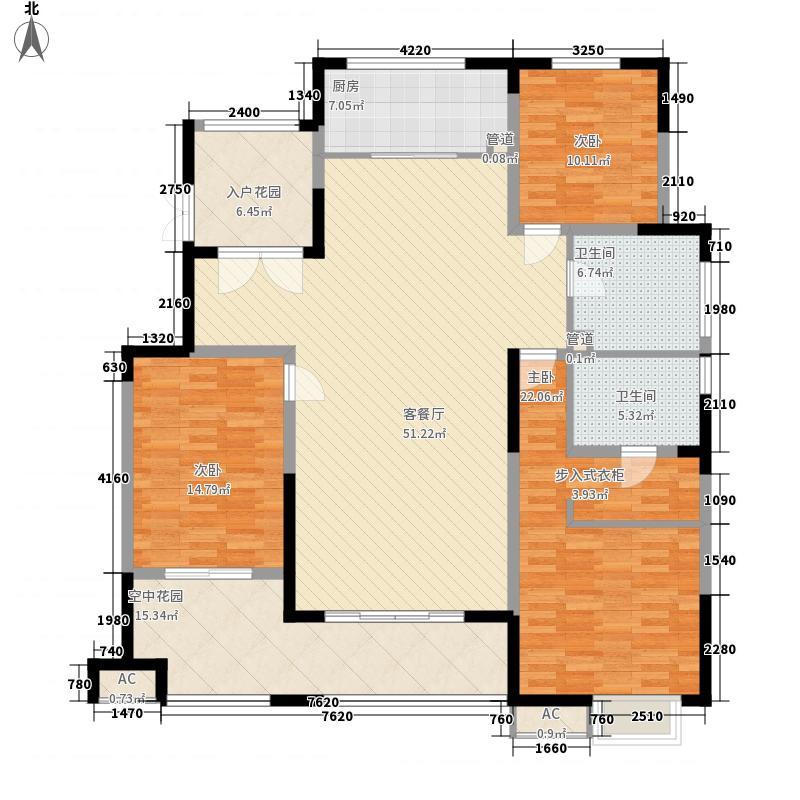 华润城・仰山红叶林16.00㎡7、13号楼标准层A户型3室2厅2卫1厨