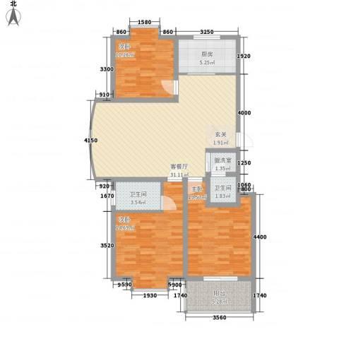 冠蒙・阳光新城3室1厅2卫1厨124.00㎡户型图
