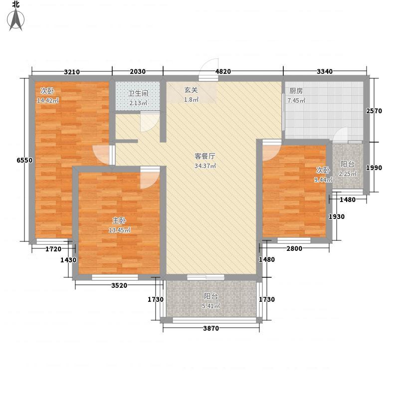 冠蒙・阳光新城127.60㎡11号楼户型3室2厅1卫1厨