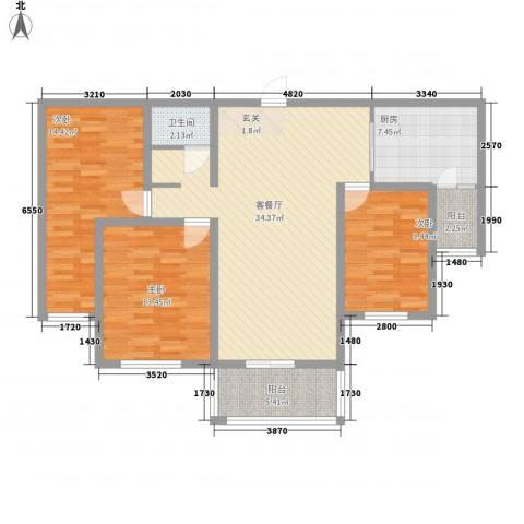 冠蒙・阳光新城3室1厅1卫1厨128.00㎡户型图