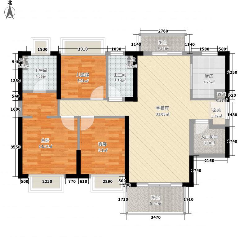 广州绿地城125.00㎡2栋01户型4室2厅2卫1厨