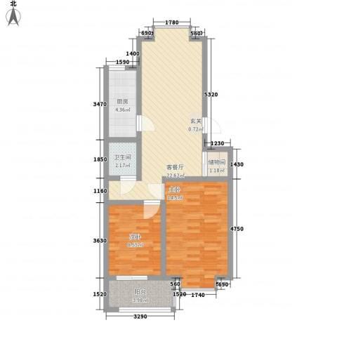 冠蒙・阳光新城2室1厅1卫1厨84.00㎡户型图