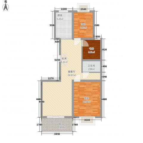 冠蒙・阳光新城3室1厅1卫1厨71.49㎡户型图