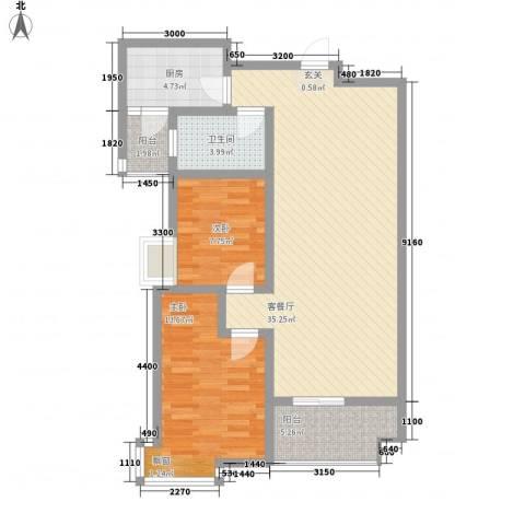 西溪里象牙湾2室1厅1卫1厨105.00㎡户型图