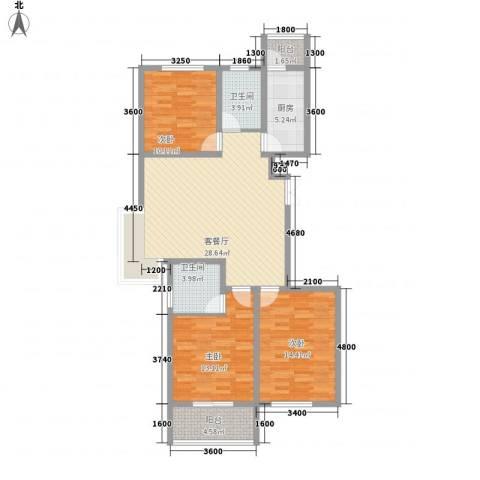润鑫・公园壹号3室1厅2卫1厨123.00㎡户型图