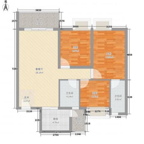 康裕花园3室1厅2卫1厨110.00㎡户型图