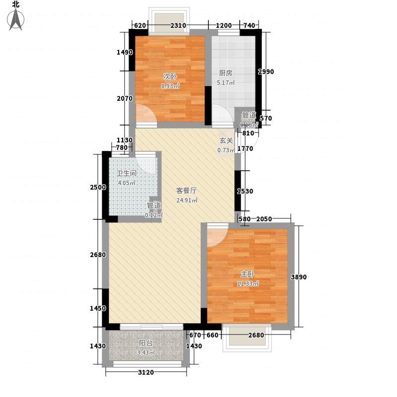 中房・御景翰苑8.50㎡D01户型2室2厅1卫1厨