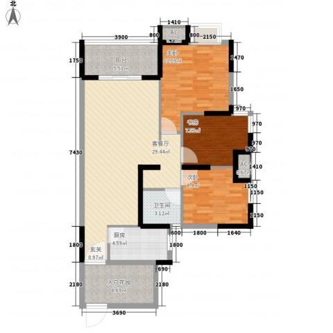 富川瑞园3室1厅1卫1厨114.00㎡户型图