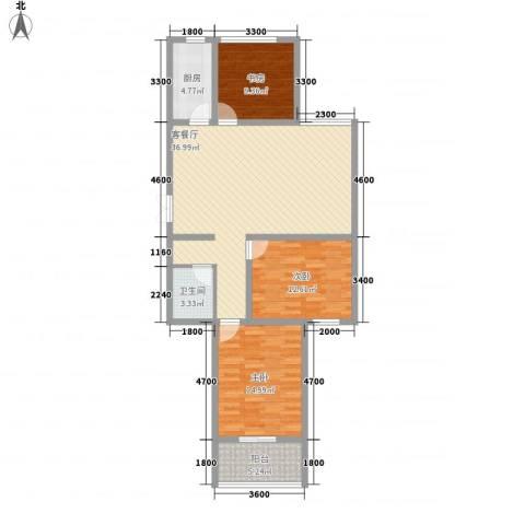 润鑫・公园壹号3室1厅1卫1厨124.00㎡户型图
