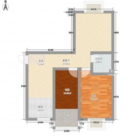 凤凰山庄三期2室1厅1卫0厨76.00㎡户型图