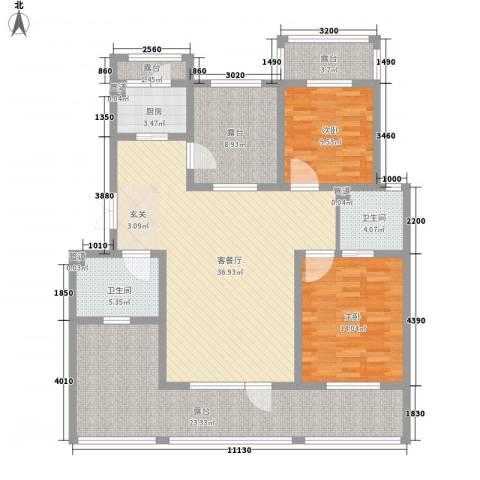 御龙仙语湾2室1厅2卫1厨128.08㎡户型图