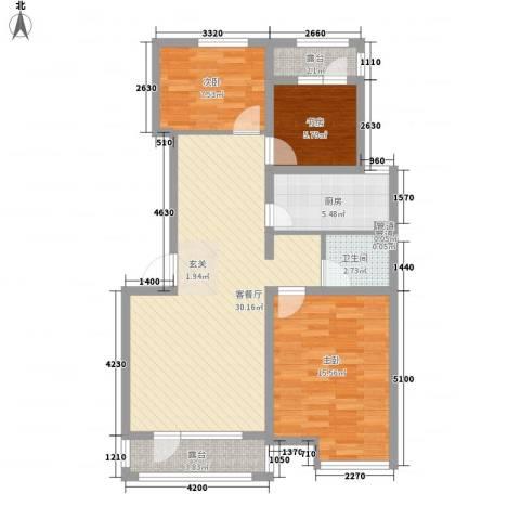 御龙仙语湾3室1厅1卫1厨84.89㎡户型图