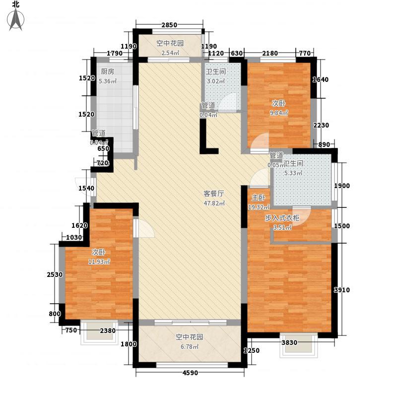 华润城・仰山红叶林143.00㎡三居D户型3室2厅1卫1厨