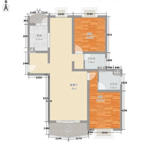 河风丽景2室1厅2卫1厨131.00㎡户型图