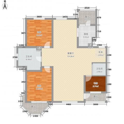 御龙仙语湾3室1厅2卫1厨130.10㎡户型图