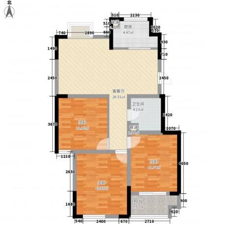 文华苑3室1厅1卫1厨109.00㎡户型图