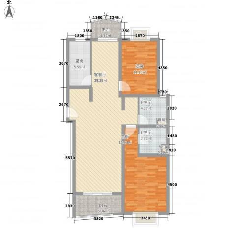 河风丽景2室1厅2卫1厨127.00㎡户型图