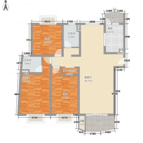 河风丽景3室1厅2卫1厨160.00㎡户型图