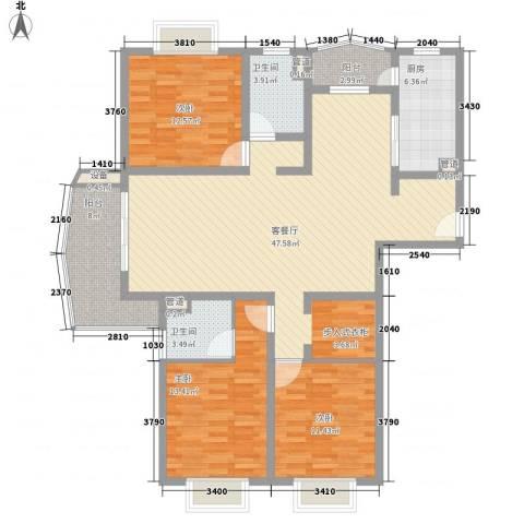 河风丽景3室1厅2卫1厨159.00㎡户型图