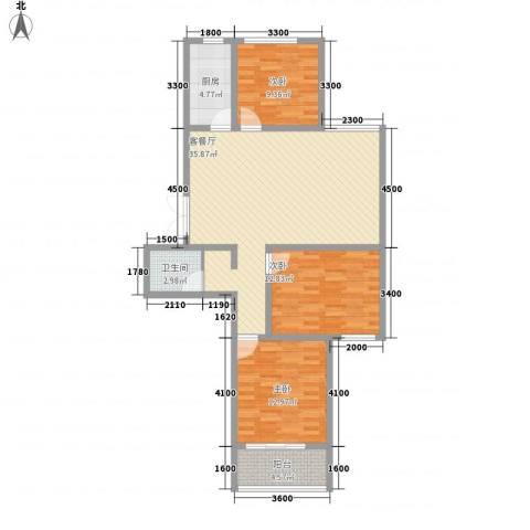 润鑫・公园壹号3室1厅1卫1厨119.00㎡户型图