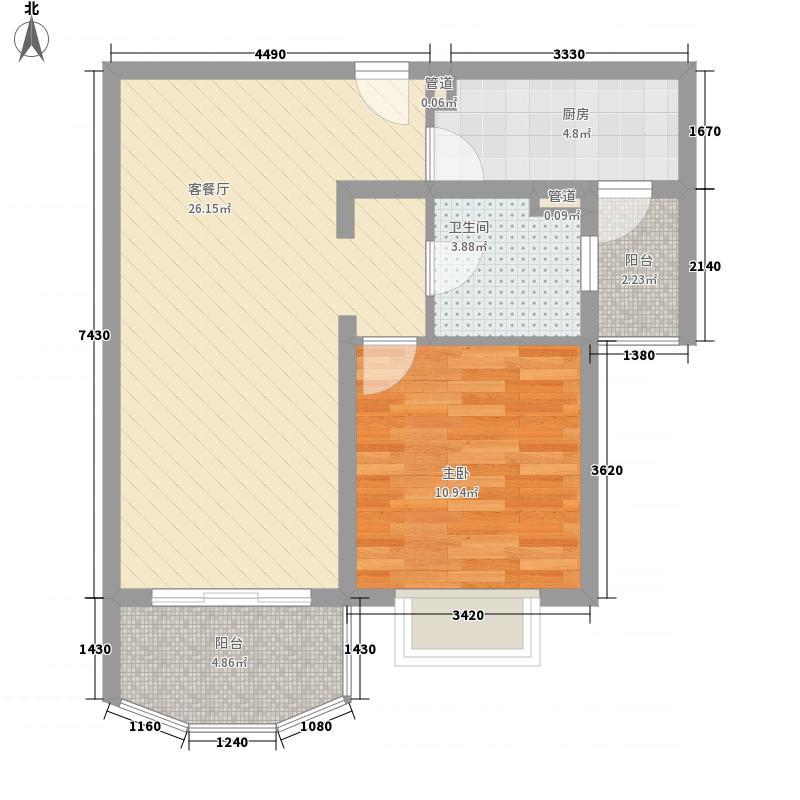 河风丽景76.42㎡B型户型1室1厅1卫1厨