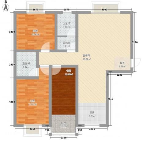 凤凰山庄三期3室1厅2卫0厨121.00㎡户型图